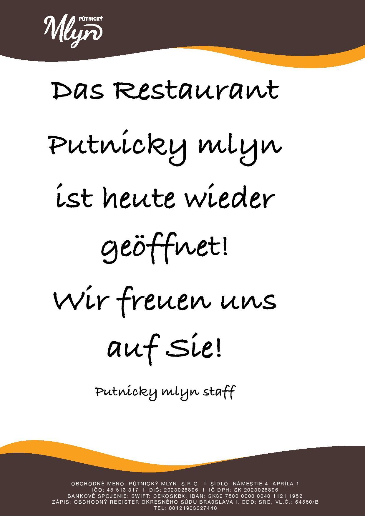Oznam reštaurácia